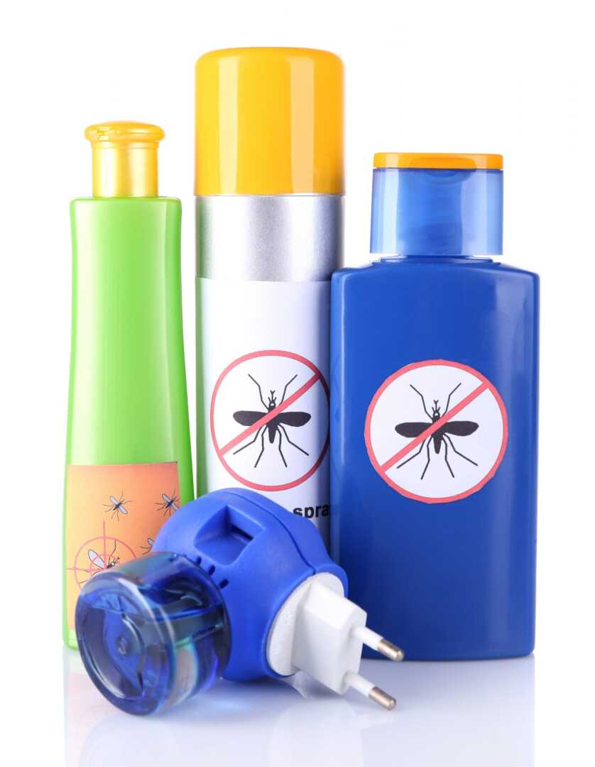 Bottles with mosquito repellent cream and fumigator, isolated
